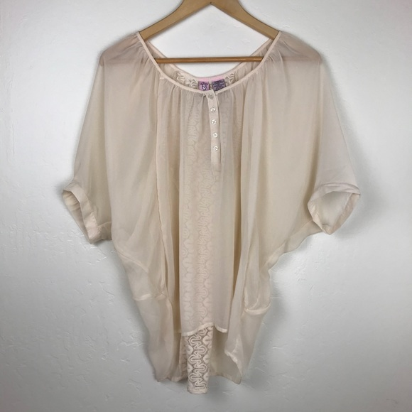 Tops - Cream Sheer Blouse with Back Lace & Button Detail
